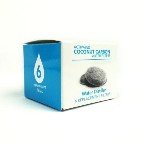 Boite de 6 filtres au charbon actif de fibres de noix de coco pour distillateur Waterlovers. Le filtre est à changer toutes les 2 à 4 semaines en fonction de l'utilisation du distillateur d'eau