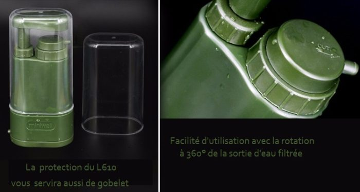 Le filtre portatif Miniwell L610 livré avec son gobelet