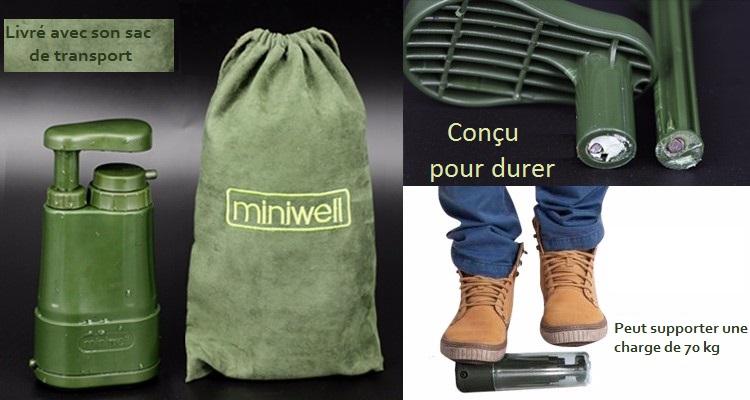 Le filtre Miniwell L610 est livré avec son sac de transport. Solide il peut suporter une charge de 70 kg.